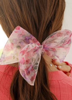 Sheer Floral Print Ribbon Hair Tie, Styleonme