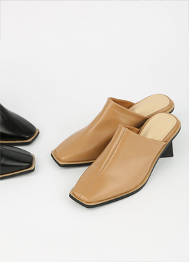 Squared Toe Mid-Heel Mules, Styleonme