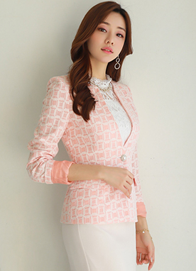 Square Diamond Lace Collarless Jacket, Styleonme