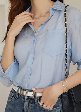 Single Pocket Collared Shirt, Styleonme