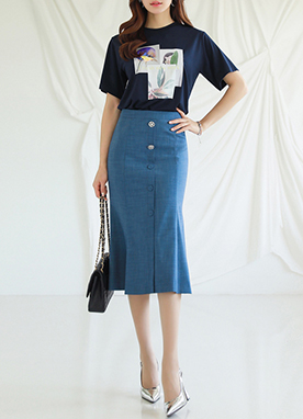 Mermaid Hem Denim Skirt, Styleonme