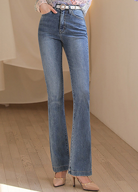 Mid Blue Wash Slim & Long Boot-Cut Jeans, Styleonme