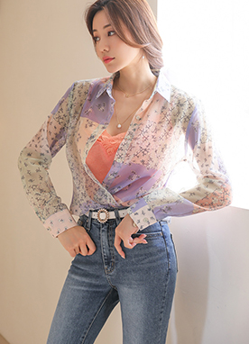 Pastel Mosaic Floral Print Sheer Collared Blouse, Styleonme