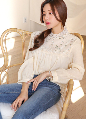 Floral Embroidered Lace Trim Blouse, Styleonme