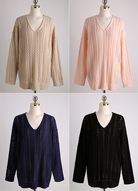 Cable Knit V-Neck Top, Styleonme