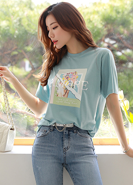 AMORE Flower Print T-Shirt, Styleonme