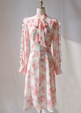 Floral Print Frill Sleeve Ribbon Chiffon Dress, Styleonme