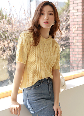 Short Sleeve Round Neck Knit Top, Styleonme
