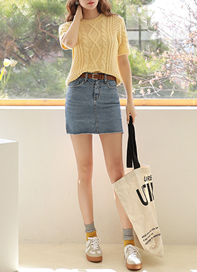 Side Slit Denim Skort, Styleonme