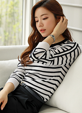 Shoulder Button Detail Stripe Knit Tee, Styleonme