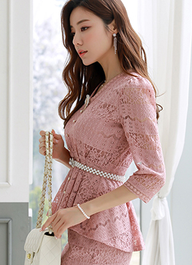 Pink Floral Lace Peplum Blouse, Styleonme