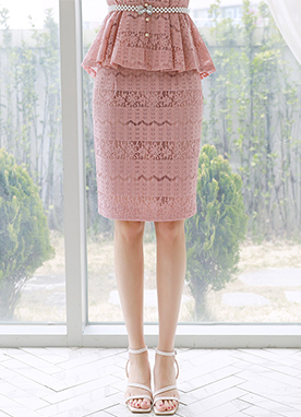 Pink Floral Lace H-Line Skirt, Styleonme