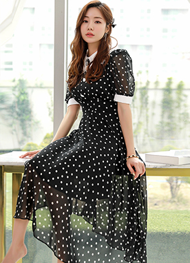 Polka Dot Lace Collar Flared Dress, Styleonme