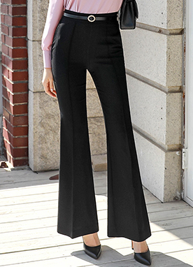 Center Line Slim Boot-Cut Slacks, Styleonme