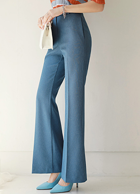 D-Ring High-Waisted Boot-Cut Slacks, Styleonme