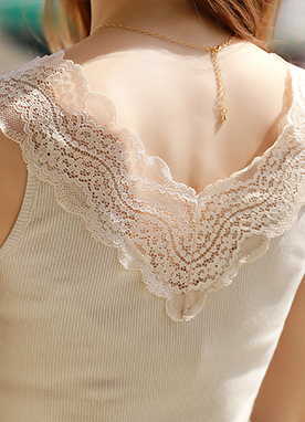 Lace V-Neck Camisole Top, Styleonme