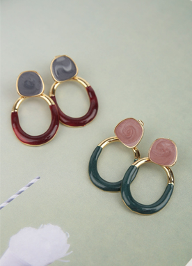 Two Color Marble Earrings, Styleonme