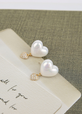Pearl Heart Earrings, Styleonme