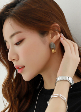 Gold Marble Earrings, Styleonme