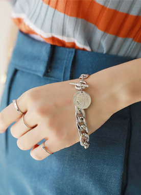 Silver Coin & Chain Bracelet, Styleonme