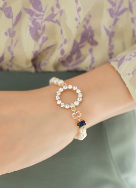 Cubic Circle Pearl Bracelet, Styleonme