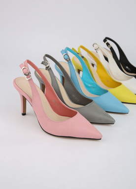6Colors Pointed Slingback Heels, Styleonme