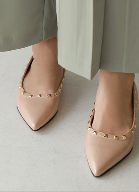 Studded Patent Flat Shoes, Styleonme