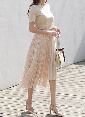 Asymmetric Layer Lace Pleated Skirt, Styleonme