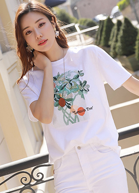 Sequined Lemon Tree Print T-Shirt, Styleonme