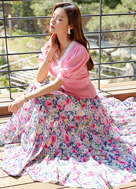 Romantic Floral Print Maxi Skirt, Styleonme