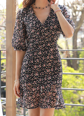 Floral Print Balloon Sleeve Wrap Style Dress, Styleonme