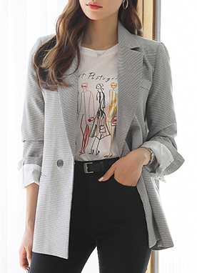 Check Print Loose Fit Tailored Jacket, Styleonme