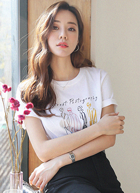 4Types Artistic Sketch Print T-Shirt, Styleonme