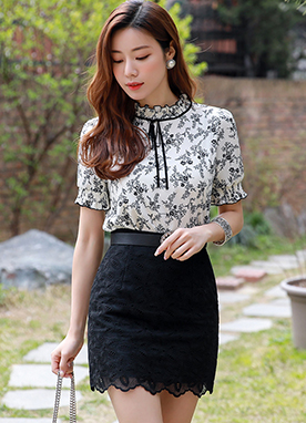 Floral Lace Mini Skirt, Styleonme