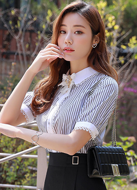 Pinstripe Short Sleeve Lace Trim Collared Blouse, Styleonme