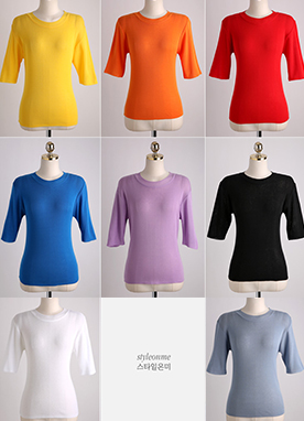 (1+1)Vivid Color Half Sleeve T-Shirt, Styleonme