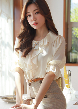 Soft Color Ruffle Neckline Blouse, Styleonme