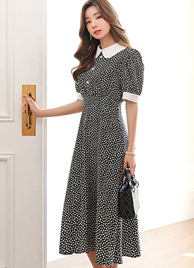 Petal Dots Collared Long Flared Dress, Styleonme