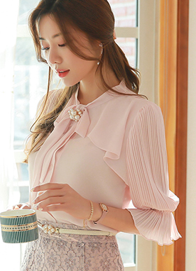 Pleated Puff Sleeve Ribbon Tie Blouse, Styleonme