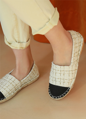 Gold Check Espadrilles, Styleonme