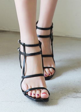 Double Thin Ankle Strap Sandal Heels, Styleonme