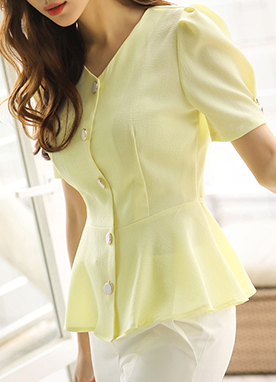 Puff Sleeve Button Detail Peplum Blouse, Styleonme