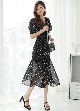 Polka Dot Puff Sleeve Chiffon Long Dress, Styleonme