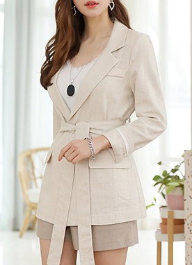 Linen-Blend Waist Tie Tailored Jacket, Styleonme