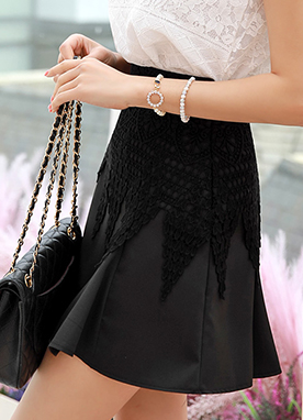 Lace Accent Flared Skort, Styleonme