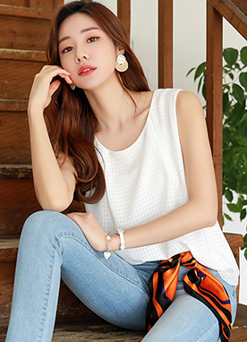 Check Pattern Chiffon Layered Sleeveless Blouse, Styleonme