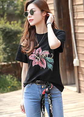 Lettering Embroidered Flower Print T-Shirt, Styleonme