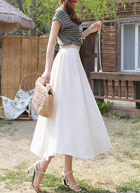 Linen-Blend Long Flared Skirt, Styleonme