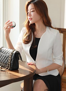 Pearl Button Slim Collarless Jacket, Styleonme