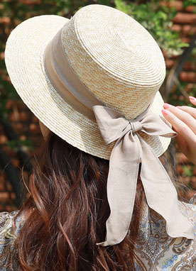Neutral Color Ribbon Straw Hat, Styleonme